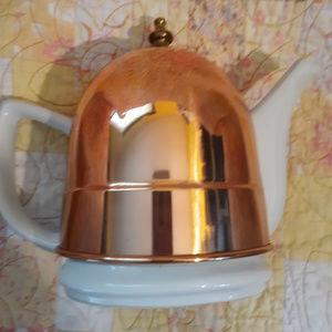 Other - Vintage white porcelain teapot copper cozy cover